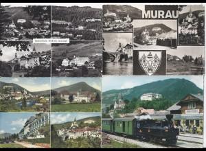 Österreich, Murau Steiermark, 4 AK (u.a. Bahnhof), alle nach Australien!! #659