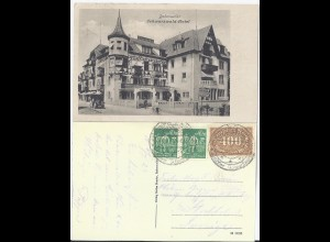 Badenweiler 1923, sw AK Schwarzwald Hotel m. Infla Marken n. Schweden gebr. #235