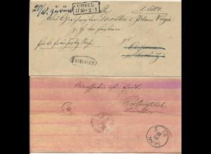 Preussen 1866, R2 Cosel u. Beamten Stpl. Fechner auf Retour Brief n. Czissowa