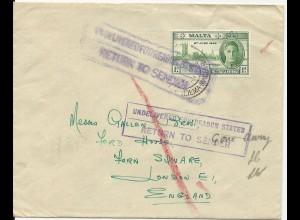 Malta, 1d 1946 auf Retour Brief m. GB Hinweisstempel. #1912