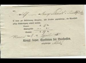 Bayern 1840, Neuses, Postschein m. hds. geänderter Jahreszahl. #582