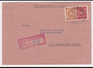 1947, Schweinfurt 1a Einschreiben Stempel auf portorichtigem Brief. #2193