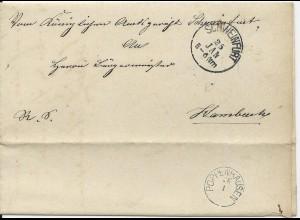 Bayern 1883, kl. K1 POPPENHAUSEN rücks. auf Brief v. Schweinfurt n. Hambach #578