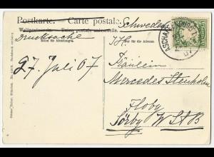 Bayern 1907, AK m. 5 Pf. als Ausl. Drucksache v. Aschaffenburg n. Schweden #2773