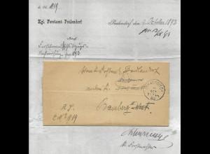 Bayern 1893, K1 Strassgiech auf Brief v. Forstamt Peulendorf n. Bamberg. #643