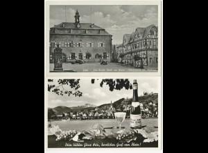 Linz am Rhein, 2 alte ungebr. sw-AK m. Marktplatz u. Wein Motiv. #1878