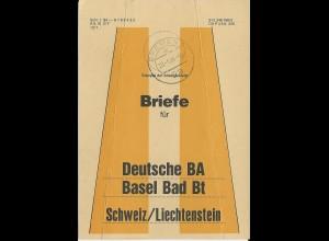 BRD 1986, Bief Bund Fahne f. Briefe Bremen - Schweiz/Liechtenstein. Bahnpost.