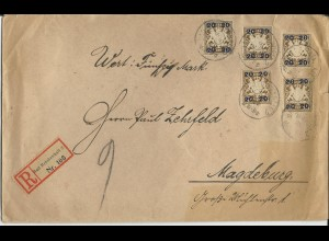 Bayern 1920, MeF 5x20/3 Pf. auf portorichtigem Wert Brief v. Bad Reichenhall