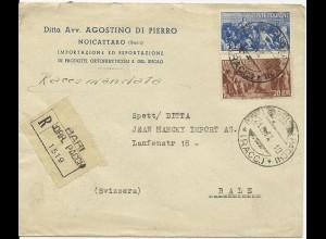 Italien 1947, 15+20 L. auf Einschreiben Brief v. Bari i.d. Schweiz. #1033