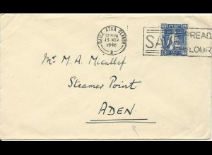 Irland 1946, 2 1/2 P. auf Brief n. Aden. Destination!