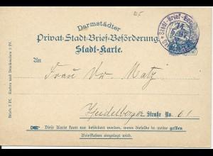 Stadtpost Darmstadt 1897, Ganzsache P6, 2 Pf. Taube sauber bedarfsgebraucht!