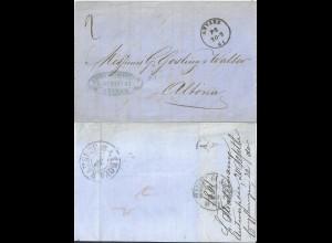 Belgien 1861, K1 ANVERS auf Brief n. Dänemark m. rs. KDOPA Hamburg. #2628
