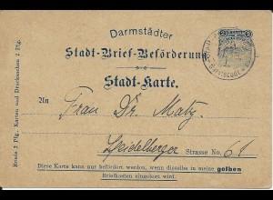 Stadtpost Darmstadt 1898, Ganzsache P12, 2 Pf. Courier sauber bedarfsgebraucht!