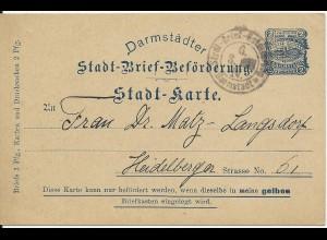 Stadtpost Darmstadt, Ganzsache P15, 2 Pf. Courier sauber bedarfsgebraucht!