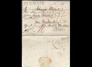 NL 1820, Teil Porto Brief v. Alkmaar n. Mecklenburg Strelitz. Destination! #2630
