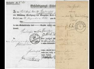 Preussen 1852, K2 Gnadenfeld auf Formular Post Behändigungs Schein Brief. Polen.