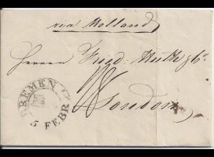 """Bremen 1834, Schlüssel Stempel auf Porto Brief """"via Holland"""" n. GB. #2631"""
