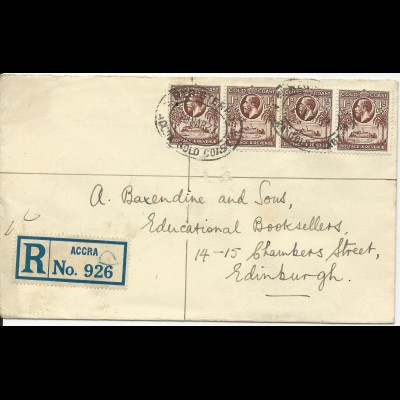 Gold Coast 1937, 4x1d auf Einschreiben Brief v. Accra n. GB
