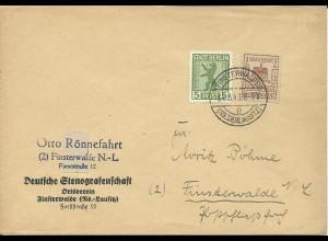 1946, Finsterwalde 3+2 Pf. zus. m. durchst. 5 Pf. Berlin auf Orts Brief. Geprüft