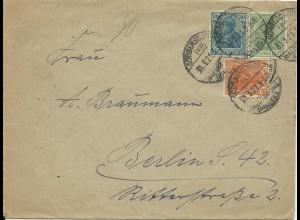 DR Polen 1921, 10+20+30 Pf. Germania auf Brief v. Görbersdorf Schlesien