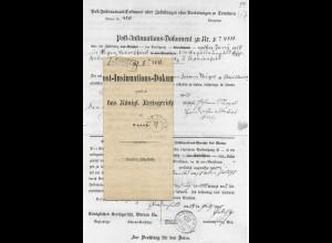 Preussen 1858, Insinuations Dokument m. R2 COSEL u. K2 Gnadenfeld. Oberschlesien