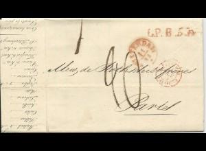 NL 11.11.1842, Brief m. gerduckten Wechselkursen v. Amsterdam n. Frankreich