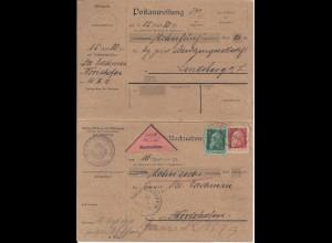 Bayern 1911, Nachnahme Doppelkarte m. 5+10 Pf. v. Landsberg n. Wörishofen. #2624