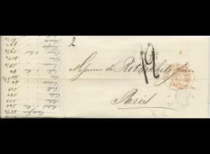 NL 22.9.1842, Brief m. gerduckten Wechselkursen v. Amsterdam n. Frankreich