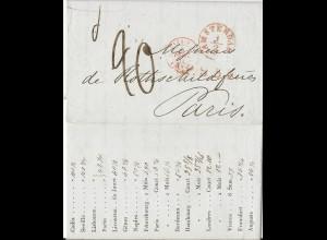 NL 1.2.1842, Porto Brief m. gerduckten Wechselkursen v. Amsterdam n. Frankreich