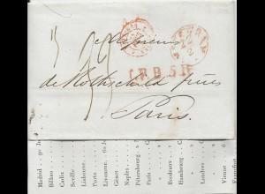 NL 22.2.1842, Porto Brief m. gerduckten Wechselkursen v. Amsterdam n Frankreich