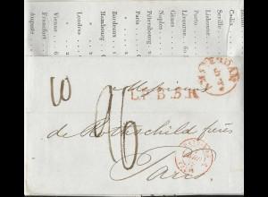NL 5.4.1842, Porto Brief m. gerduckten Wechselkursen v. Amsterdam n. Frankreich