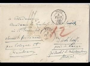 Frankreich 1850, Porto Brief v Paris n. Mecklenburg Schwerin. Destination! #2629