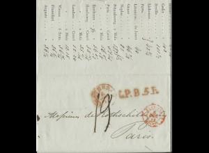 NL 6.12.1842, Porto Brief m. gerduckten Wechselkursen v. Amsterdam n Frankreich