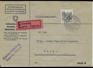 Schweiz 1940, EF 40 C. Kreuz auf Militärpost Eilboten Brief v. Zürich Kaserne