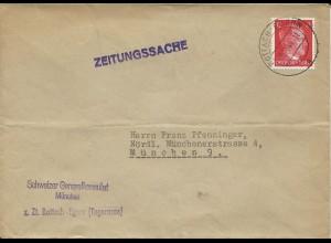 DR 1944, Schweiz Konsulat z. Zt. Rottach Egern, Zeitungssache Brief m. 12 Pf.