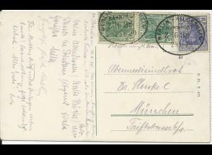 DR 1920, Bahnpost Berlin Hildesheim Zug 38 auf AK v. Potsdam m 3 Germania Marken
