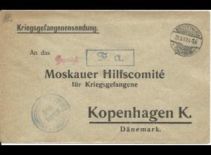 DR 1917, KGF POW Zensur Brief v. Llager Bischofswerda m. blauem Püfer-R1 #2619
