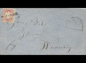 Bayern, Postablage Roth als Entwerter auf Brief m. 3 Kr. n. Weissenburg