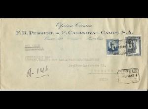 Spanien 1937, Luftpost Einschreiben Brief v. Barcelona i.d. Schweiz