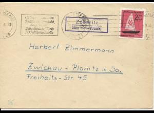 DDR 1966, Zöberitz über Halle, Landpost Stpl. auf Brief m. 20 Pf.