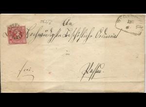 Bayern, MR 562 Wegscheid auf Brief m 3 Kr. n. Passau.