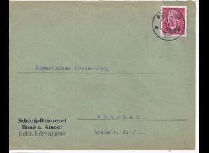 Haag a. Amper, Schloß Brauerei, Brief Umschl v. Moosburg m. Thematik Bier. #514
