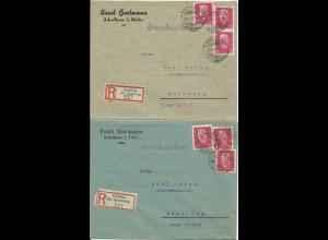 DR 1929, Schalkau Kr. Sonneberg, 2 Einschreiben Brief m. versch. Reko-Zetteln.