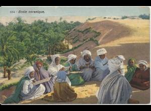 Arabien, École coranique, Koran Schule in der Wüste, ungebr. Farb-AK