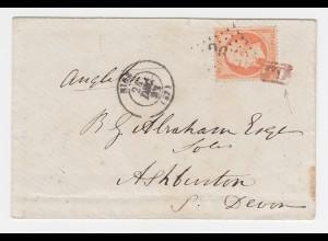 Frankreich 1862, 40 C. m. PD+GC auf Brief v. Nice n. Ashburton GB.