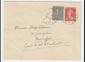 Frankreich 1912, 15 C. auf 10 C. Ganzsache Brief v. Paris n. Finnland.