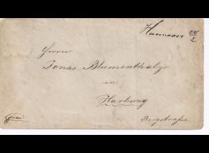 Hannover 28/2, handschr. Ortsaufgabe, Brief n. Harburg (Ank.Stpl. rücks.). #584