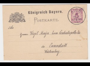 Bayern 1884, K1 AICH auf 5 Pf. Ganzsache v. Bodenkirchen