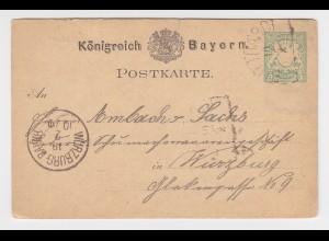 Bayern 1879, HKS BÜTTHARDT auf 5 Pf. Ganzsache n. Würzburg
