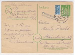 BRD 1951, Troschenreuth ü. Auerbach, Landpost Stpl. auf 10 Pf. Ganzsache